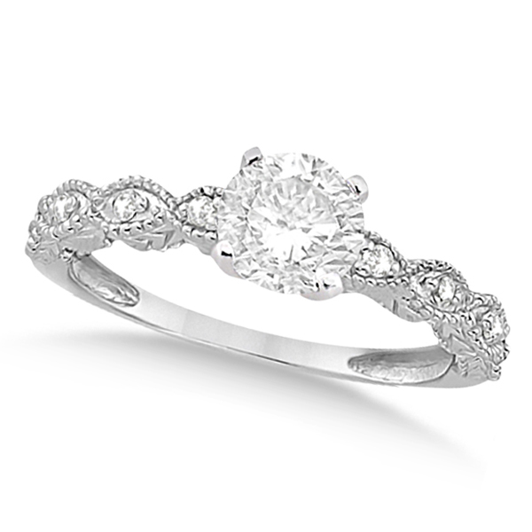 Petite Antique-Design Diamond Bridal Set in 14k White Gold (3.08ct)