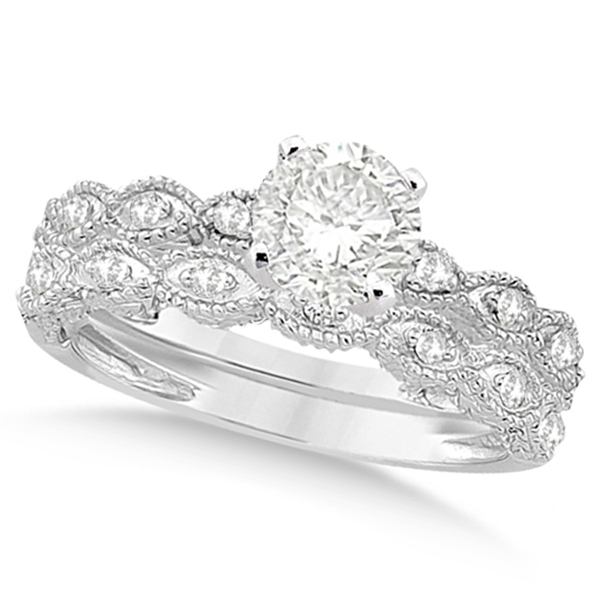 Petite Antique-Design Diamond Bridal Set in 14k White Gold (0.58ct)