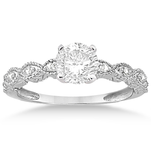 Petite Antique-Design Diamond Bridal Set in 14k White Gold (0.83ct)