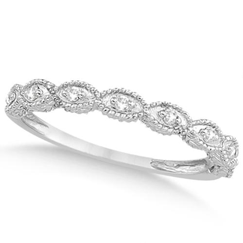 Petite Antique-Design Diamond Bridal Set in 14k White Gold (1.08ct)