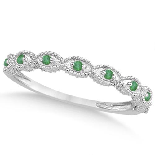 Marquise Antique Diamond & Emerald Bridal Set 14k White Gold (1.58ct)