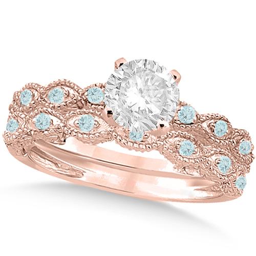 Vintage Diamond & Aquamarine Bridal Set 14k Rose Gold 0.95ct