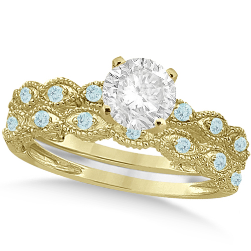 Vintage Diamond & Aquamarine Bridal Set 14k Yellow Gold 0.70ct