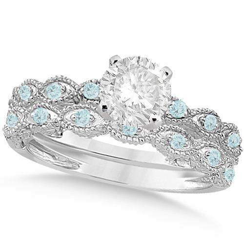 Vintage Diamond & Aquamarine Bridal Set 18k White Gold 0.95ct