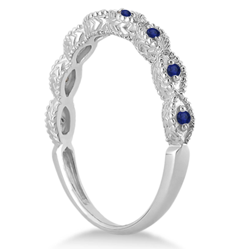 Vintage Diamond & Blue Sapphire Bridal Set 14k White Gold 0.70ct