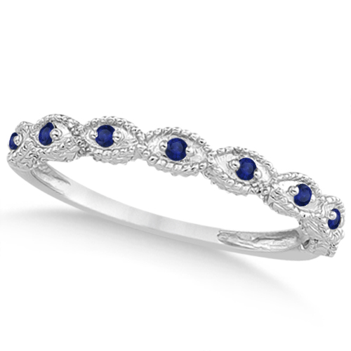 Vintage Diamond & Blue Sapphire Bridal Set 14k White Gold 1.70ct
