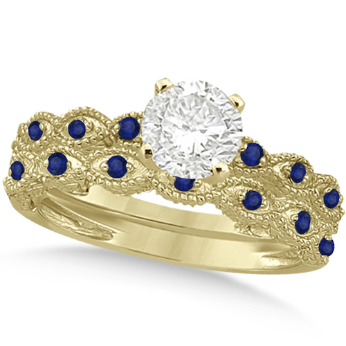 Vintage Diamond & Blue Sapphire Bridal Set 14k Yellow Gold 0.70ct
