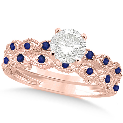Vintage Diamond & Blue Sapphire Bridal Set 18k Rose Gold 0.95ct