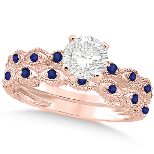 Vintage Diamond & Blue Sapphire Bridal Set 18k Rose Gold 1.20ct