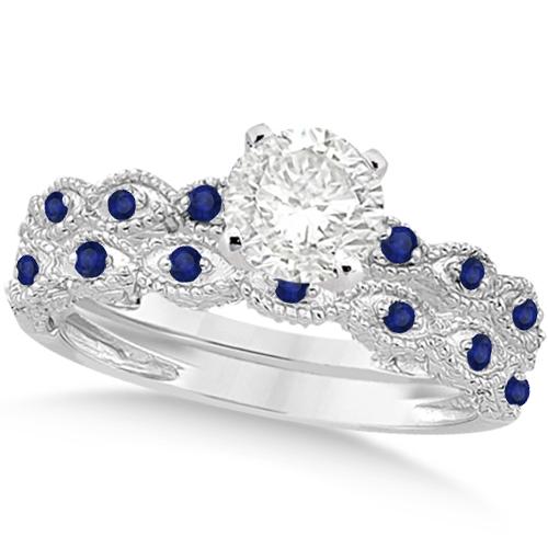Vintage Diamond & Blue Sapphire Bridal Set 18k White Gold 0.95ct