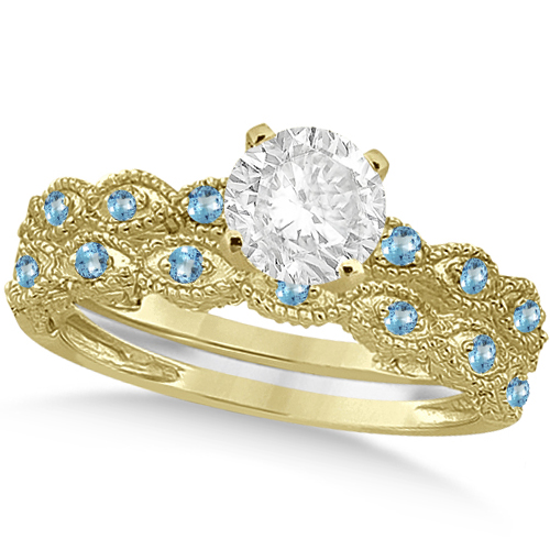 Vintage Diamond & Blue Topaz Bridal Set 14k Yellow Gold 0.95ct