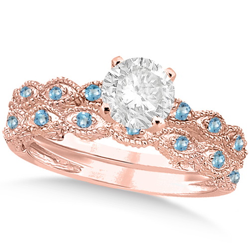 Vintage Diamond & Blue Topaz Bridal Set 18k Rose Gold 1.70ct