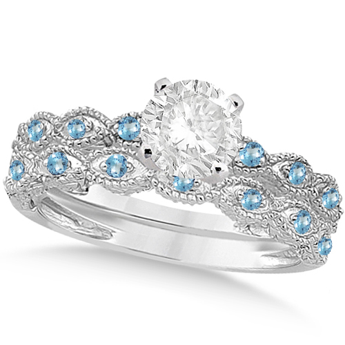 Vintage Diamond & Blue Topaz Bridal Set 18k White Gold 0.95ct