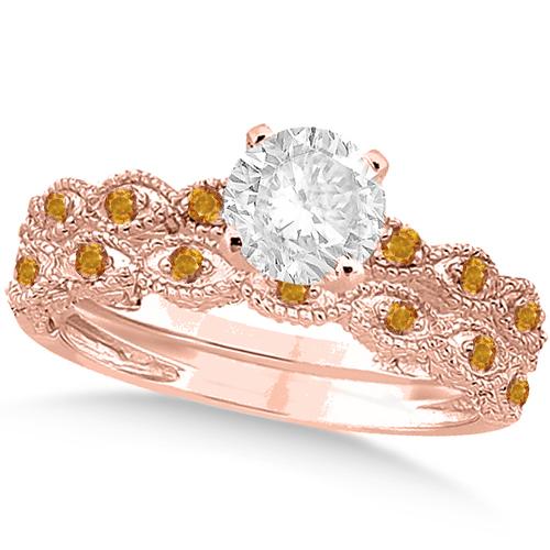 Vintage Diamond & Citrine Bridal Set 14k Rose Gold 0.95ct