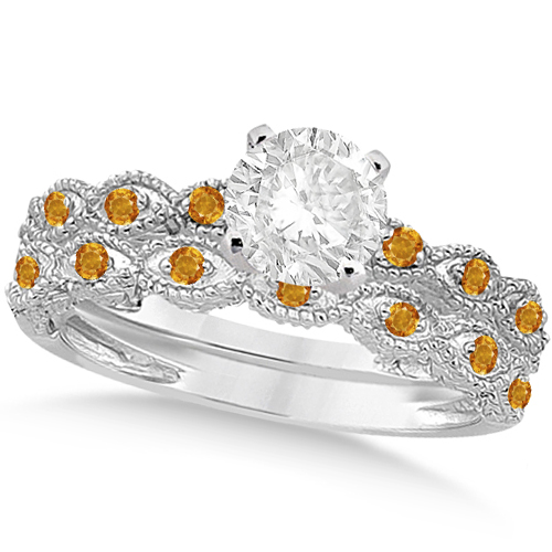 Vintage Diamond & Citrine Bridal Set 14k White Gold 0.70ct