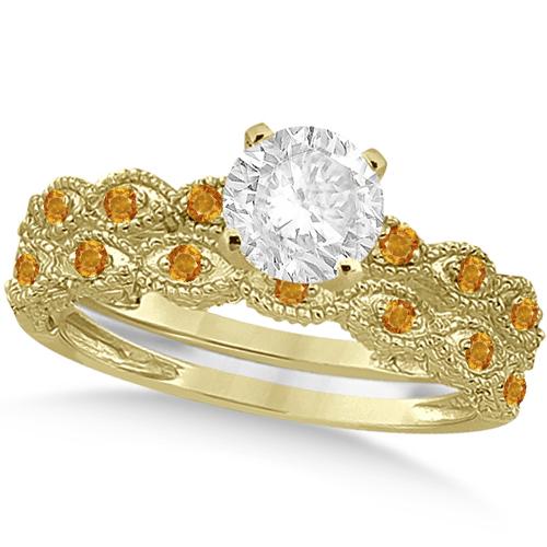 Vintage Diamond & Citrine Bridal Set 14k Yellow Gold 0.95ct