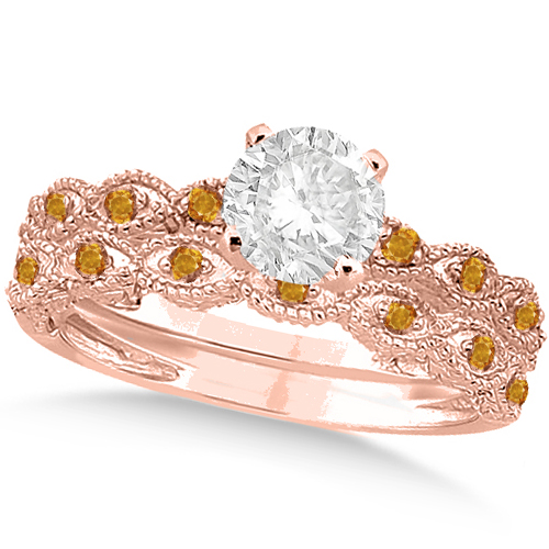Vintage Diamond & Citrine Bridal Set 18k Rose Gold 1.20ct