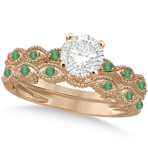 Vintage Diamond & Emerald Bridal Set 14k Rose Gold 0.95ct