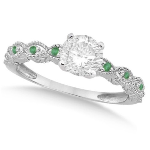 Vintage Diamond & Emerald Bridal Set 14k White Gold 1.70ct