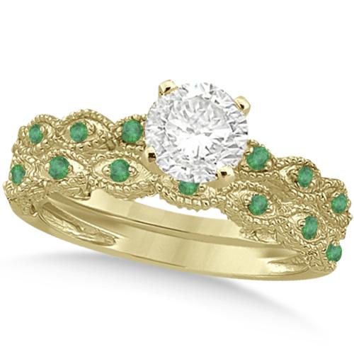 Vintage Diamond & Emerald Bridal Set 14k Yellow Gold 0.95ct