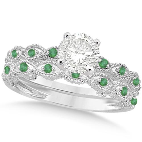 Vintage Diamond & Emerald Bridal Set 18k White Gold 0.70ct