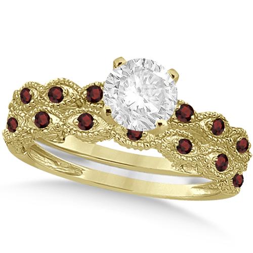 Vintage Diamond & Garnet Bridal Set 14k Yellow Gold 0.95ct