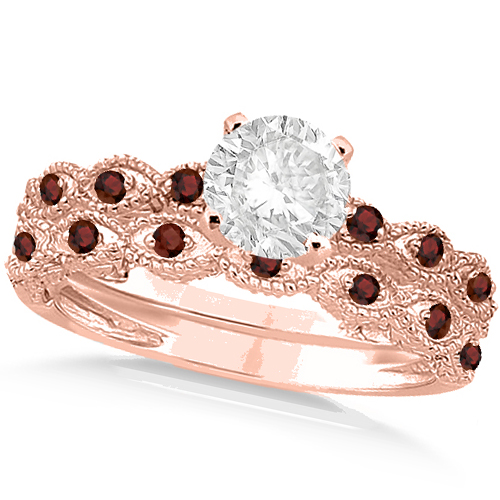 Vintage Diamond & Garnet Bridal Set 18k Rose Gold 0.70ct