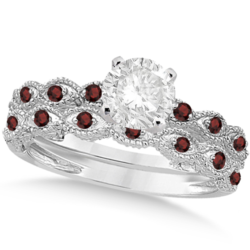 Vintage Diamond & Garnet Bridal Set Platinum 0.70ct