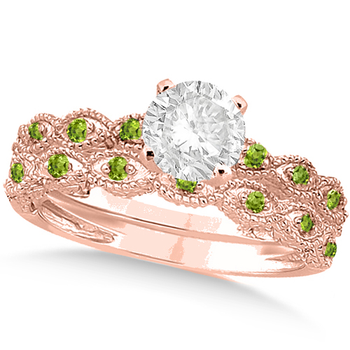 Vintage Diamond & Peridot Bridal Set 14k Rose Gold 0.95ct