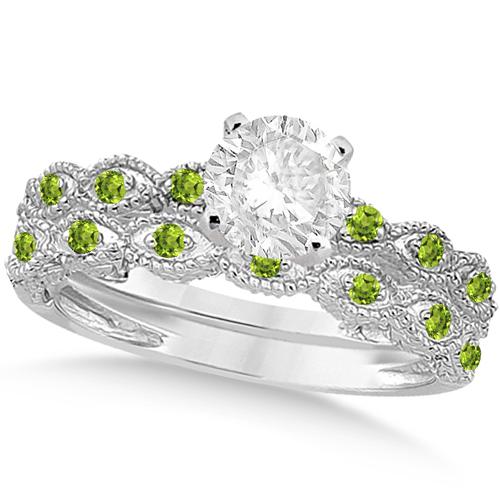 Vintage Diamond & Peridot Bridal Set 14k White Gold 1.20ct