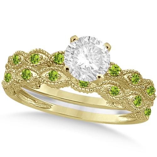 Vintage Diamond & Peridot Bridal Set 14k Yellow Gold 0.95ct