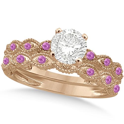 Vintage Diamond & Pink Sapphire Bridal Set 14k Rose Gold 1.70ct