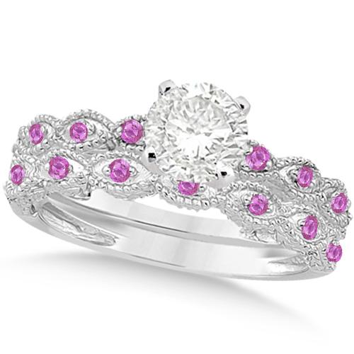 Vintage Diamond & Pink Sapphire Bridal Set 14k White Gold 1.70ct