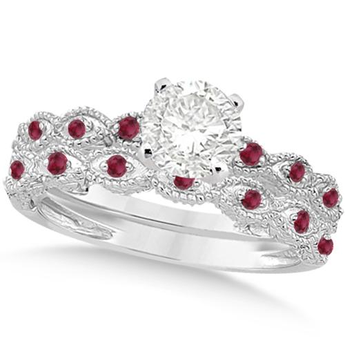 Vintage Diamond & Ruby Bridal Set 14k White Gold 0.95ct