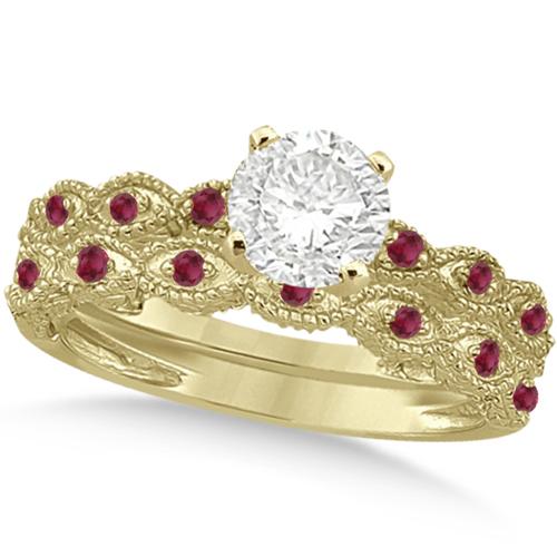 Vintage Diamond & Ruby Bridal Set 14k Yellow Gold 0.70ct
