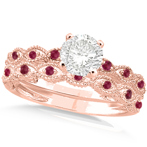 Vintage Diamond & Ruby Bridal Set 18k Rose Gold 0.95ct