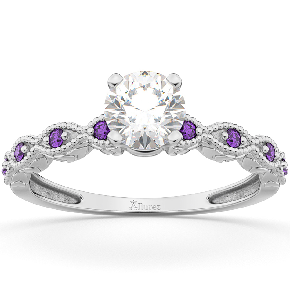 Vintage Marquise Amethyst Engagement Ring 18k White Gold (0.18ct)