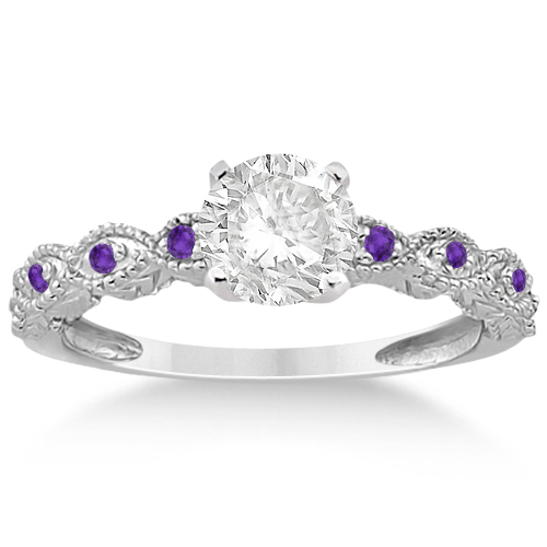 Vintage Marquise Amethyst Engagement Ring Palladium (0.18ct)