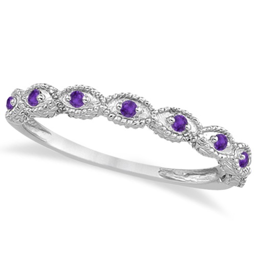 Antique Amethyst Bridal Set Marquise Shape 14K White Gold 0.36ct