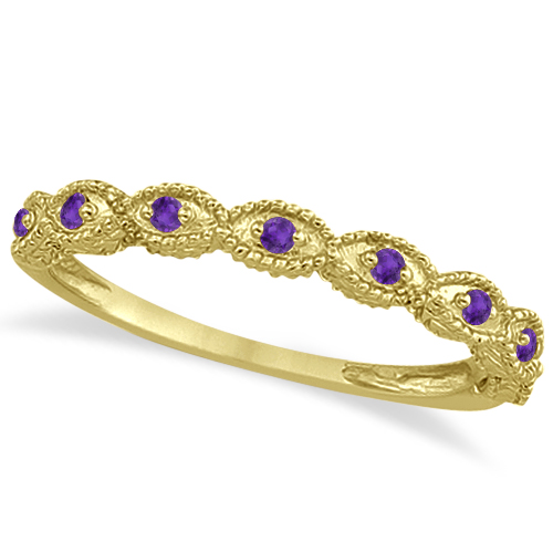 Antique Marquise Shape Amethyst Wedding Ring 14k Yellow Gold (0.18ct)
