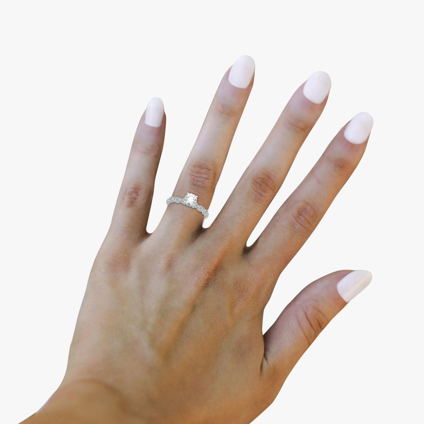Vintage Marquise Aquamarine Engagement Ring 18k White Gold (0.18ct)