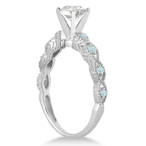 Vintage Marquise Aquamarine Engagement Ring Palladium (0.18ct)