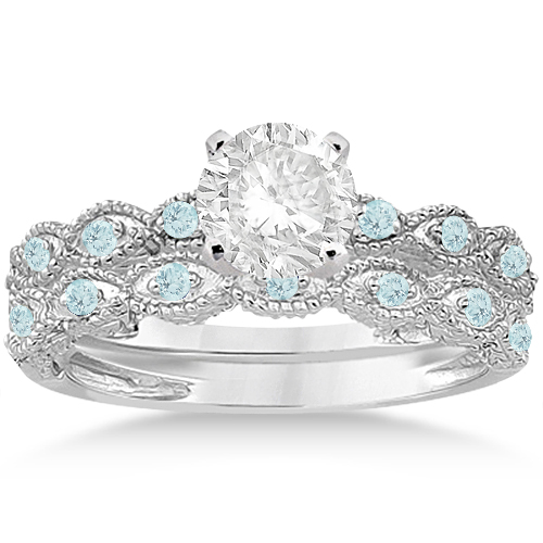 Antique Aquamarine Bridal Set Marquise Shape 14K White Gold 0.36ct