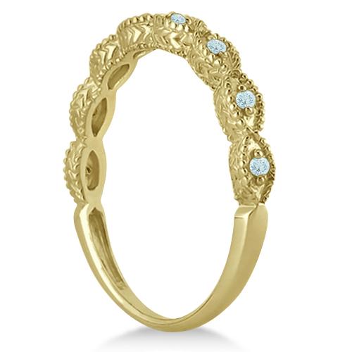 Antique Aquamarine Bridal Set Marquise Shape 18K Yellow Gold 0.36ct