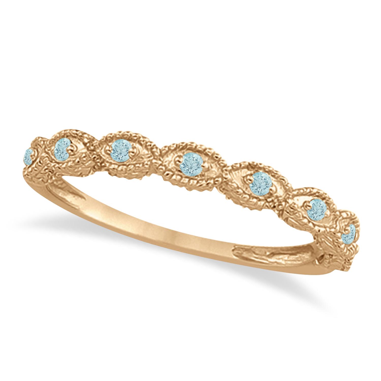 Antique Marquise Shape Aquamarine Wedding Ring 14k Rose Gold (0.18ct)