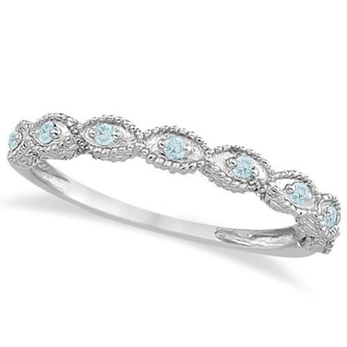 Antique Marquise Shape Aquamarine Wedding Ring 18k White Gold (0.18ct)