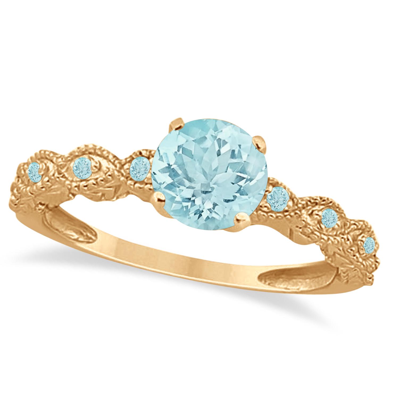 Vintage Style Aquamarine Engagement Ring in 14k Rose Gold (1.18ct)