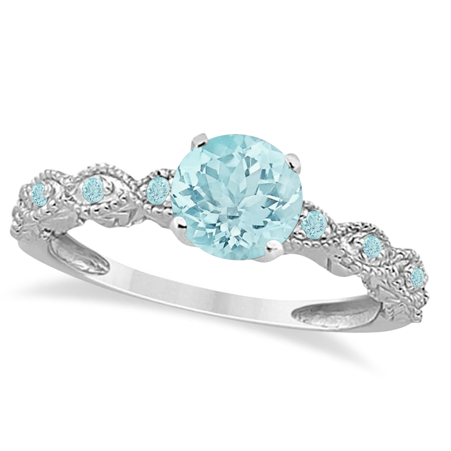 Vintage Style Aquamarine Engagement Ring in Palladium (1.18ct)