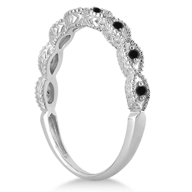 Antique Marquise Black Diamond Wedding Ring Palladium (0.10ct)