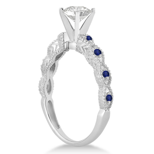 Vintage Marquise Blue Sapphire Engagement Ring Palladium (0.18ct)